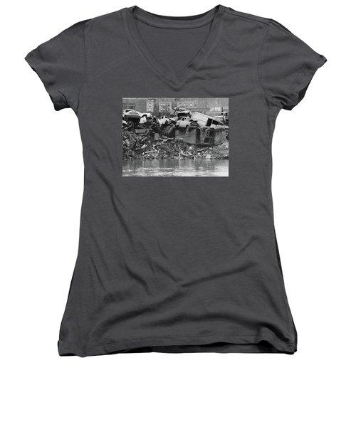 Harlem River Junkyard, 1967 Women's V-Neck T-Shirt (Junior Cut) by Cole Thompson