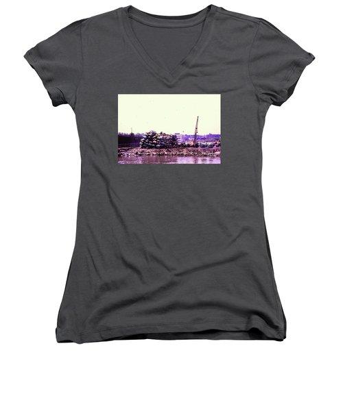 Harlem River Junkyard Women's V-Neck T-Shirt (Junior Cut) by Cole Thompson