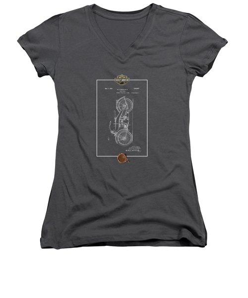 Women's V-Neck T-Shirt (Junior Cut) featuring the digital art Harley-davidson 1924 Vintage Patent Blueprint With 3d Badge by Serge Averbukh