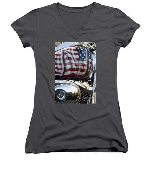 Harley Davidson 7 Women's V-Neck T-Shirt (Junior Cut) by Wendy Wilton