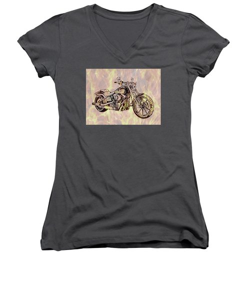 Women's V-Neck T-Shirt (Junior Cut) featuring the mixed media Harley Motorcycle On Flames by Dan Sproul