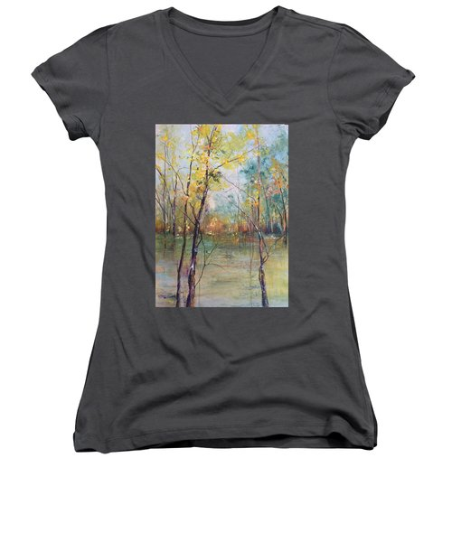 Harmony In Perfect Key Women's V-Neck T-Shirt (Junior Cut) by Robin Miller-Bookhout