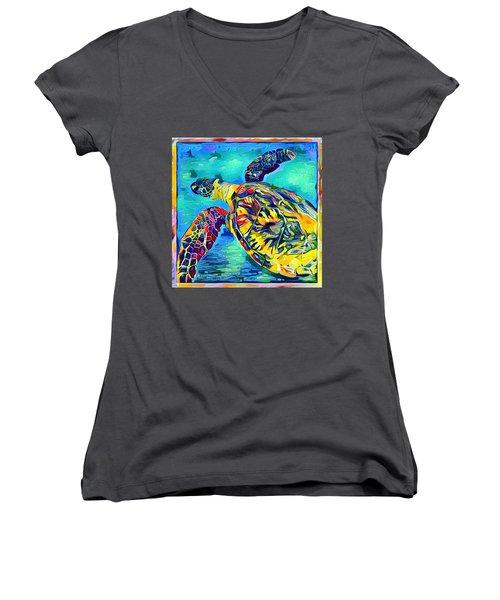 Women's V-Neck T-Shirt (Junior Cut) featuring the digital art Harold The Turtle by Erika Swartzkopf