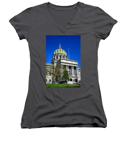 Harrisburg Capitol Building Women's V-Neck (Athletic Fit)
