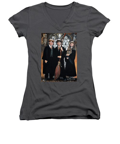 Harry Potter Women's V-Neck T-Shirt (Junior Cut) by Tom Carlton
