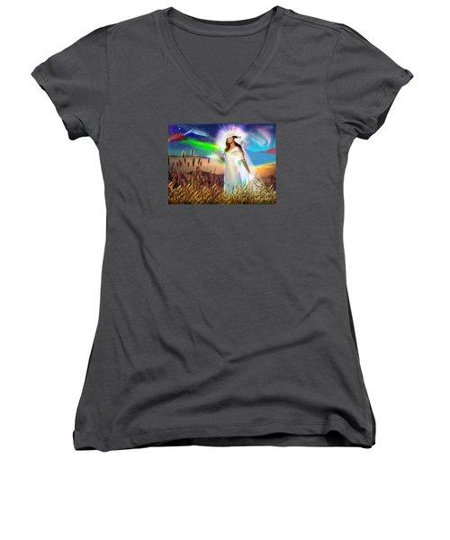 Harvest Bride Women's V-Neck T-Shirt (Junior Cut) by Dolores Develde
