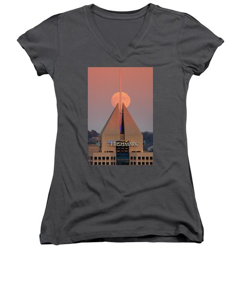 Women's V-Neck T-Shirt (Junior Cut) featuring the photograph Harvest Moon In Pittsburgh  by Emmanuel Panagiotakis