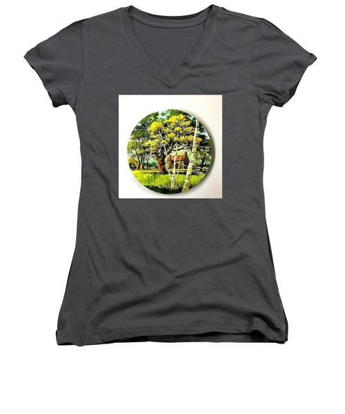 Harvest Moon Landscape Women's V-Neck (Athletic Fit)