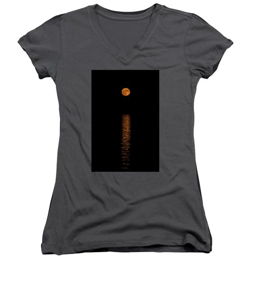 Women's V-Neck T-Shirt (Junior Cut) featuring the photograph Harvest Moonrise by Paul Freidlund