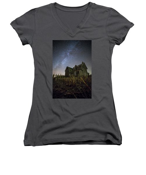 Women's V-Neck T-Shirt (Junior Cut) featuring the photograph Harvested  by Aaron J Groen