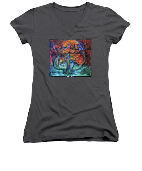 Harvesters Of The Autumnal Swamp Women's V-Neck T-Shirt