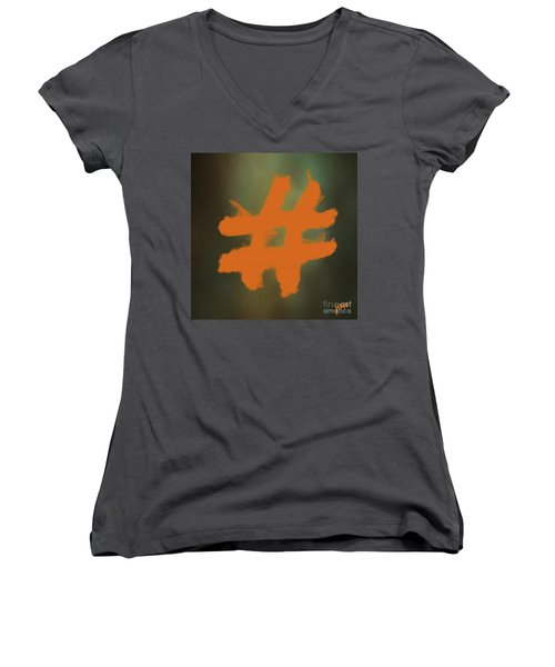 Women's V-Neck T-Shirt (Junior Cut) featuring the digital art Hashtag by Jim  Hatch