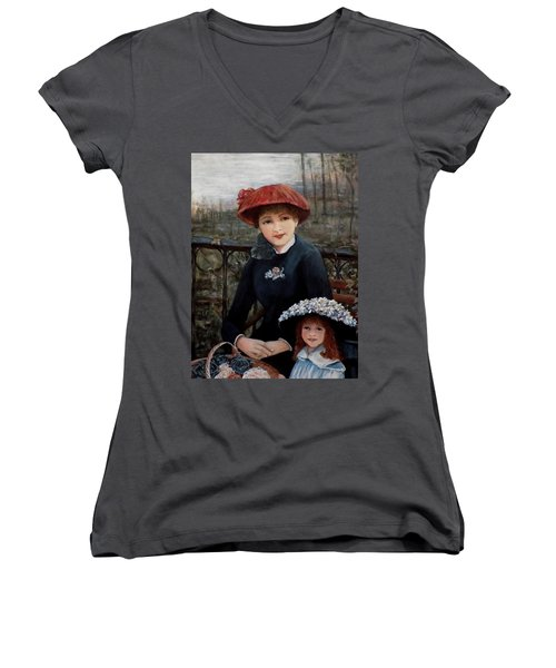 Women's V-Neck T-Shirt (Junior Cut) featuring the painting Hat Sense by Judy Kirouac