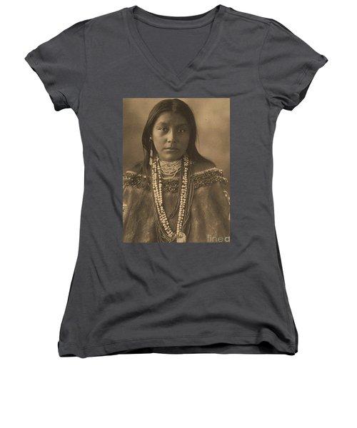 Hattie  Tom  Apache Women's V-Neck T-Shirt (Junior Cut) by Pg Reproductions
