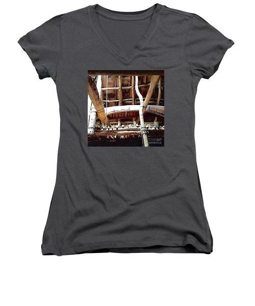 Haudenosaunee Longhouse  Women's V-Neck T-Shirt (Junior Cut) by Ellen Levinson