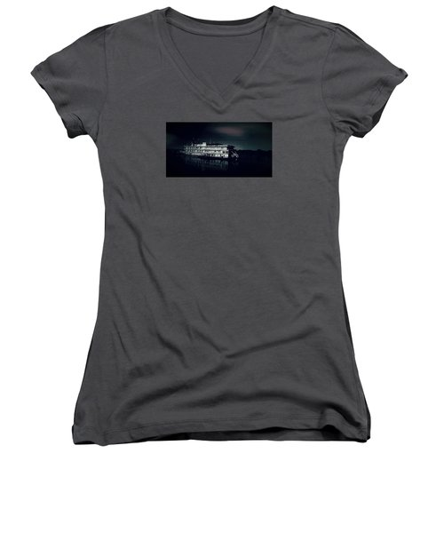 Haunted Dinner Cruise On The Columbia River  Women's V-Neck T-Shirt (Junior Cut) by Lisa Kaiser