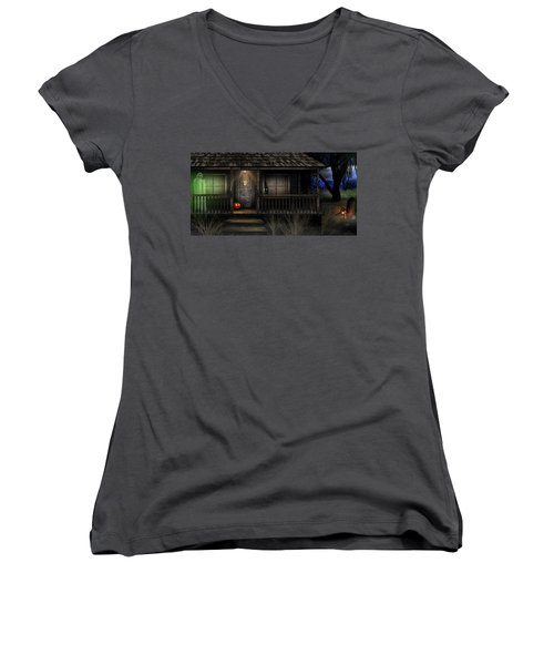 Haunted Halloween 2016 Women's V-Neck T-Shirt (Junior Cut) by Anthony Citro