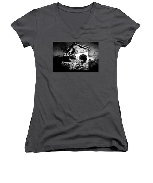 Haunted House Women's V-Neck T-Shirt (Junior Cut) by Celso Bressan