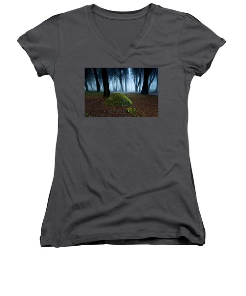 Women's V-Neck T-Shirt (Junior Cut) featuring the photograph Haunting by Jorge Maia