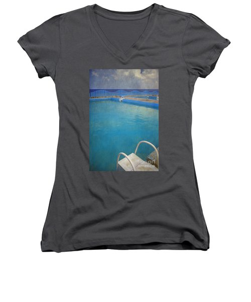 Women's V-Neck T-Shirt (Junior Cut) featuring the photograph Havana Cuba Swimming Pool And Ocean by David Zanzinger