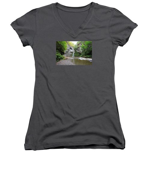Women's V-Neck T-Shirt (Junior Cut) featuring the photograph Beautiful Eagle Cliff Falls  by Trina  Ansel