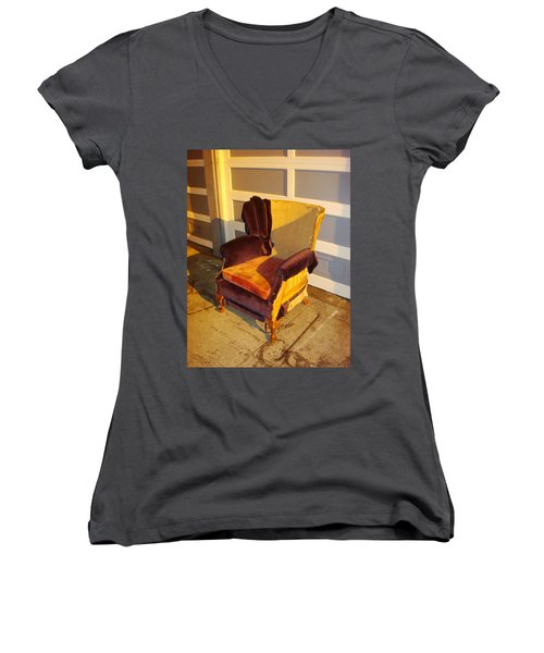 Women's V-Neck featuring the photograph Have A Seat In Dore Alley by Mr Photojimsf