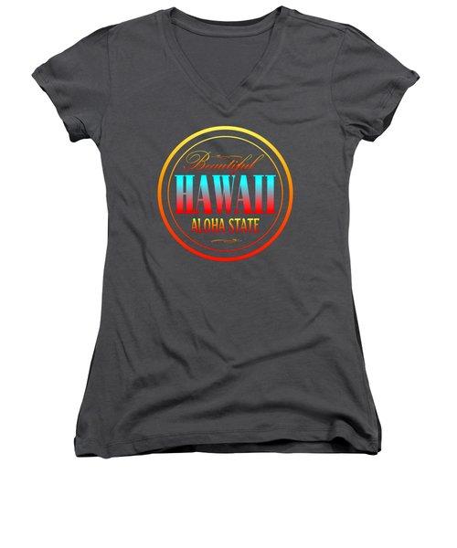 Hawaii Aloha State - Tshirt Design Women's V-Neck T-Shirt (Junior Cut) by Art America Gallery Peter Potter
