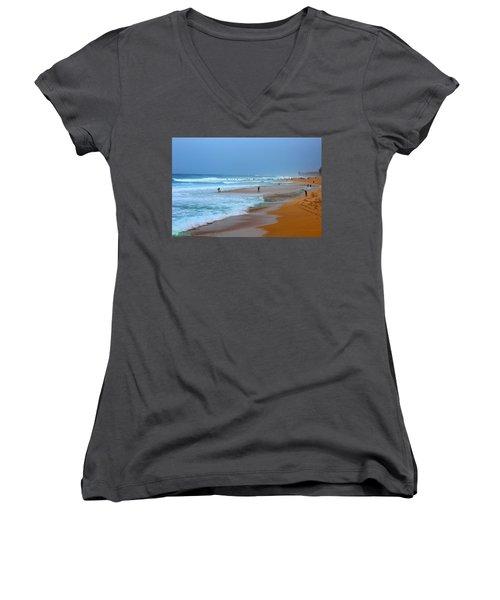Hawaii - Sunset Beach Women's V-Neck T-Shirt (Junior Cut) by Michael Rucker