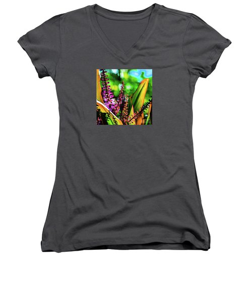 Hawaii Ti Leaf Plant And Flowers Women's V-Neck