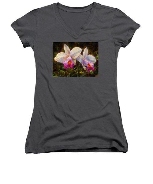 Hawaiian Bamboo Orchid Women's V-Neck