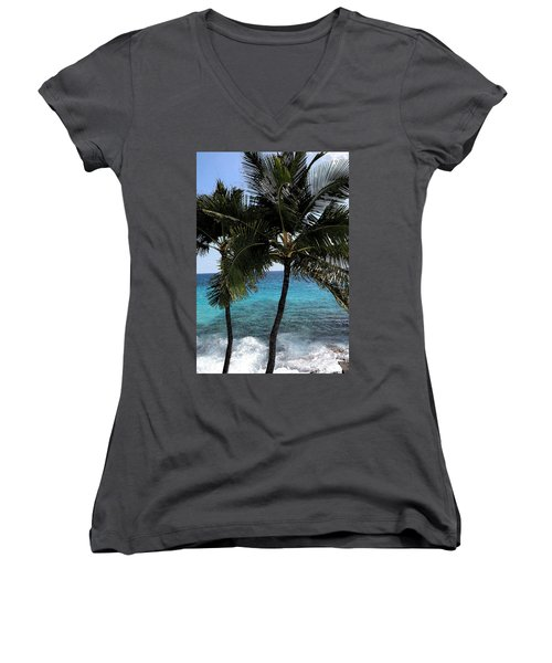 Hawaiian Palm Trees - All Images Copyright Karen L. Nicholson Women's V-Neck T-Shirt