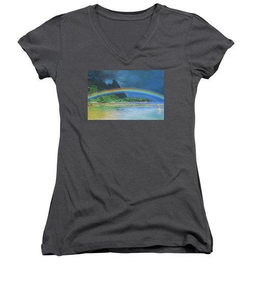 Hawaiian Rainbow Women's V-Neck T-Shirt