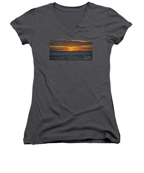 Women's V-Neck T-Shirt (Junior Cut) featuring the photograph Hawaiian Winter Sunset by Mitch Shindelbower