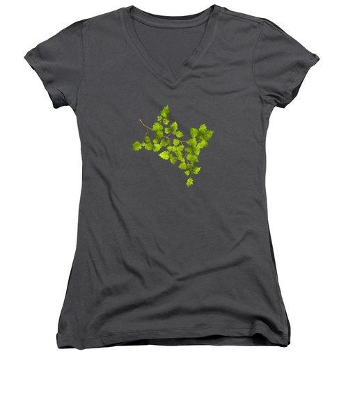 Hawthorn Pressed Leaf Art Women's V-Neck