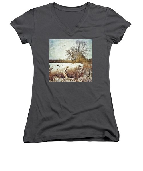 Hay Bales In Snow Women's V-Neck (Athletic Fit)