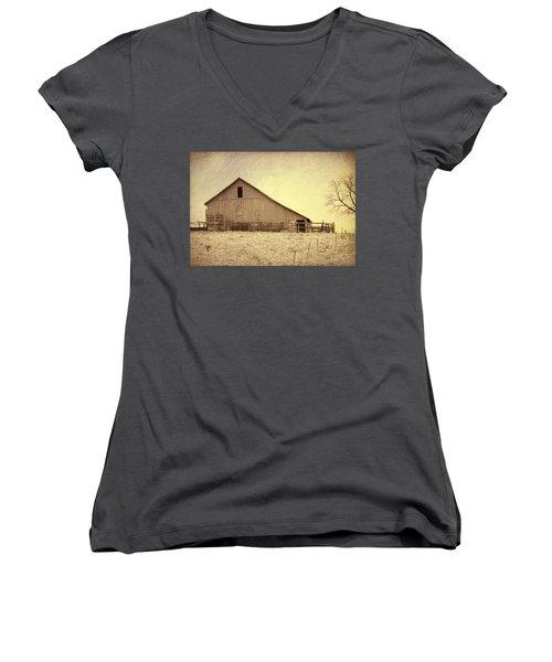 Hay Barn Women's V-Neck T-Shirt (Junior Cut) by Susan Crossman Buscho