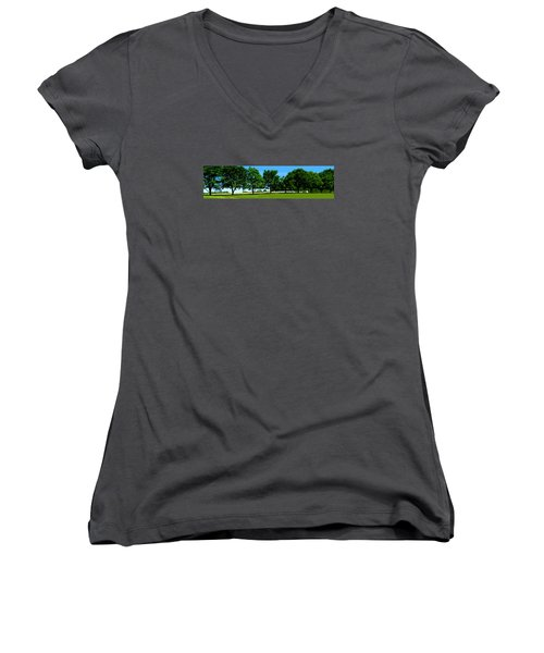 Women's V-Neck T-Shirt (Junior Cut) featuring the photograph Hay Harvest by Spyder Webb