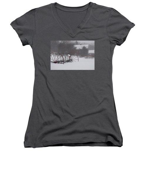 Hay Rake In The Snow Women's V-Neck T-Shirt