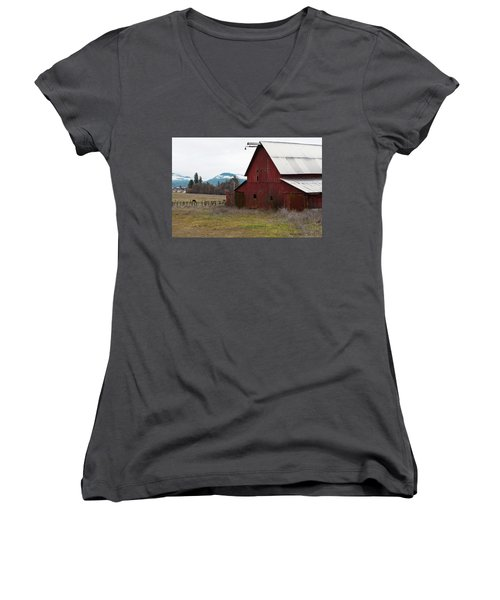 Hayfork Red Barn Women's V-Neck (Athletic Fit)