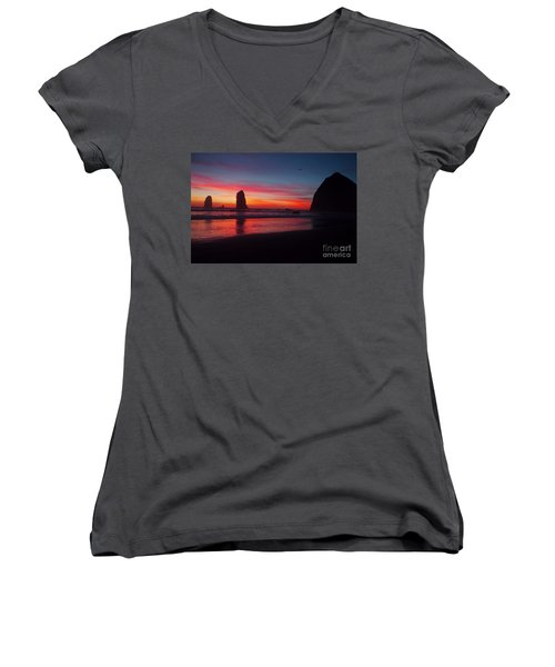 Haystack Rock At Sunset 2 Women's V-Neck (Athletic Fit)