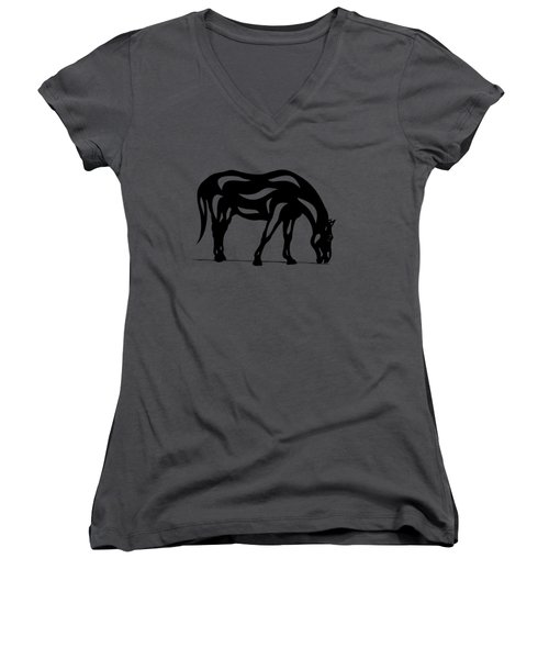 Hazel - Abstract Horse Women's V-Neck (Athletic Fit)