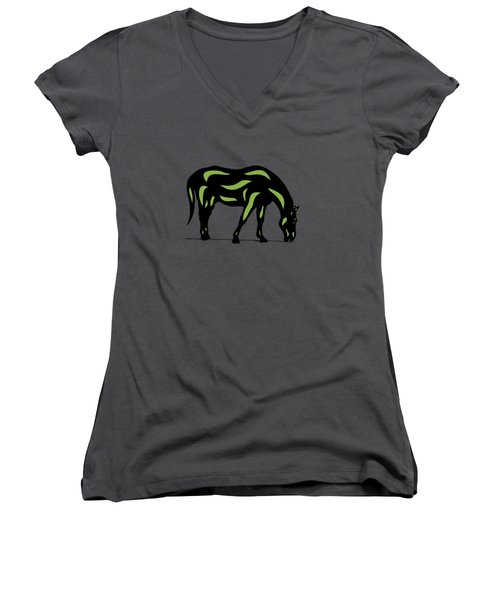 Hazel - Pop Art Horse - Black, Greenery, Purple Women's V-Neck