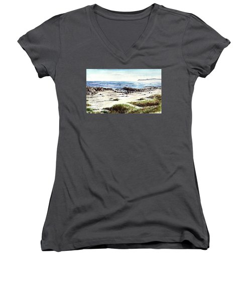 Women's V-Neck T-Shirt (Junior Cut) featuring the painting Hazy Coastline by Heidi Kriel