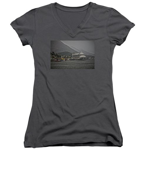 Women's V-Neck T-Shirt (Junior Cut) featuring the photograph Hazy Day In Paradise  by Timothy Latta