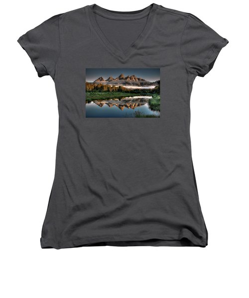Hazy Reflections At Scwabacher Landing Women's V-Neck T-Shirt (Junior Cut) by Ryan Smith