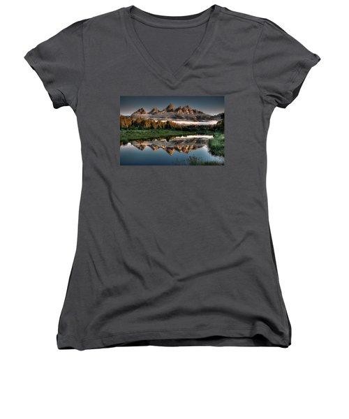 Hazy Reflections At Scwabacher Landing Women's V-Neck T-Shirt