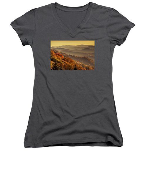 Hazy Sunny Layers In The Smoky Mountains Women's V-Neck T-Shirt (Junior Cut) by Teri Virbickis