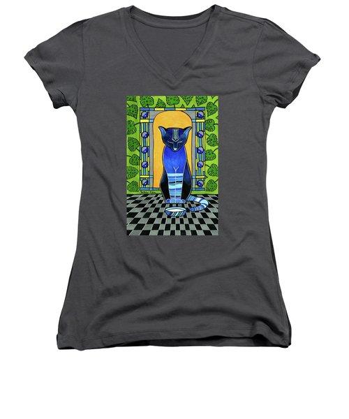 He Is Back - Blue Cat Art Women's V-Neck
