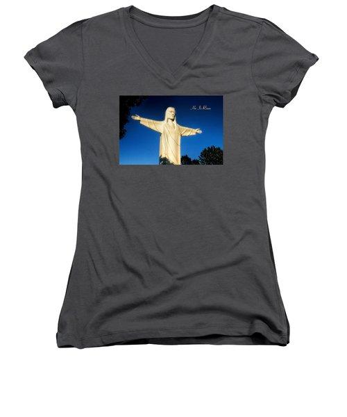 Women's V-Neck T-Shirt (Junior Cut) featuring the photograph He Is Risen by Joan Bertucci