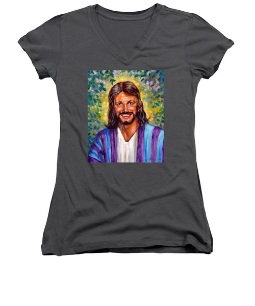 He Smiles Women's V-Neck T-Shirt (Junior Cut) by John Lautermilch